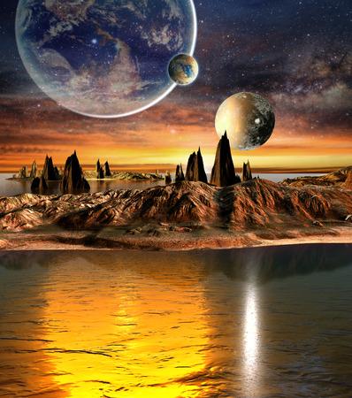 Alien Planet met planeten aarde Maan En Bergen. 3D Gesmolten Computer Artwork.