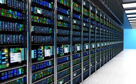tecnologias de la informacion: Moderno concepto de red y la tecnología de telecomunicación informática: sala de servidores en la sala de centro de datos equipado con servidores de datos. Las luces LED que parpadea. 3D render Foto de archivo