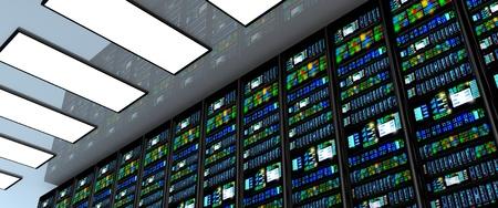 현대 네트워크 및 통신 기술 컴퓨터 개념 : 데이터 서버를 갖춘 데이터 센터 룸에서 서버 룸. LED 조명이 깜박. 3D 렌더링