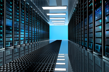 Modern network and telecommunication technology computer concept: server room in datacenter room equipped with data servers. LED lights flashing. 3D render