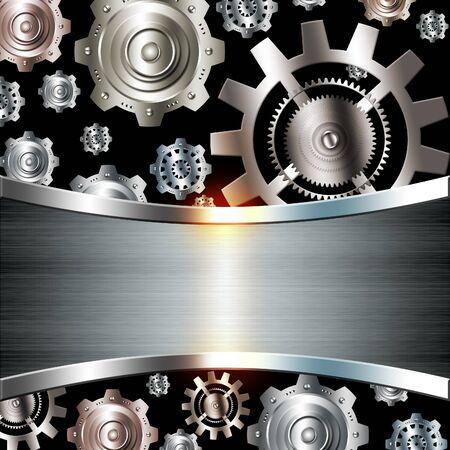 cromo: Fondo abstracto plata metálico cromado con engranajes