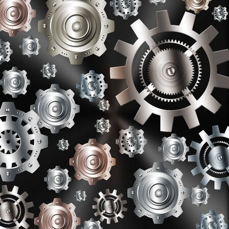 rackwheel: Abstract background metallic chrome silver with gears
