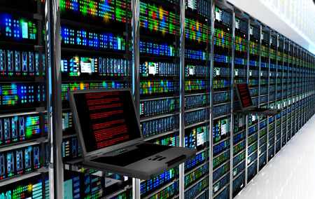 Creative business web telecommunication internet technology connection cloud computing and networking connectivity concept: terminal monitor in server room with server racks in datacenter interior Stockfoto