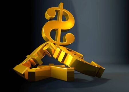 financial symbol: Golden currency euro symbol rising over a pile of PoundUS DollarYen.Concept for financial power