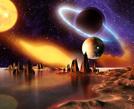 행성 지구 달과 산 외계 행성. 3D는 컴퓨터 작품을 렌더링합니다.