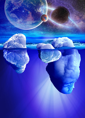 cosmos: Underwater view of iceberg with beautiful transparent sea and planets on background.
