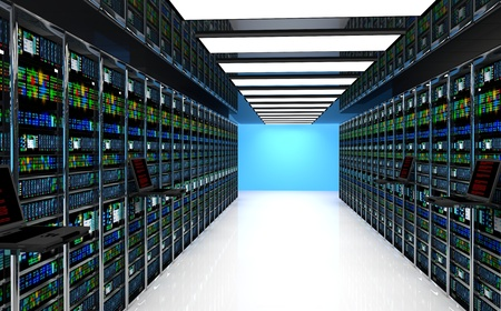 Creative business web telecommunication internet technology connection cloud computing and networking connectivity concept: terminal monitor in server room with server racks in datacenter interior Banque d'images