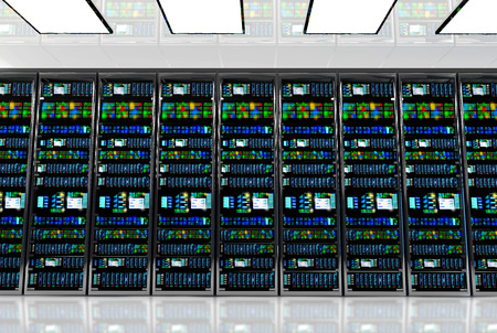server farm: Modern network and telecommunication technology computer concept: server room in datacenter room equipped with data servers. LED lights flashing. 3D render