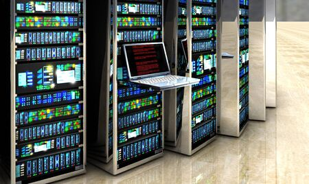 server technology: Creative business web telecommunication, internet technology connection, cloud computing and networking connectivity concept: terminal monitor in server room with server racks in datacenter interior. 3d render Stock Photo