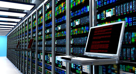 infraestructura: Creativa telecomunicaciones web de negocios, conexi�n de la tecnolog�a de Internet, la computaci�n en nube y el concepto de conectividad de red: Monitor de la terminal en la sala de servidores con bastidores de servidores en centros de datos entre otras. 3d