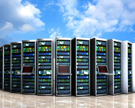 internet terminal: Creative business web telecommunication, internet technology connection, cloud computing and networking connectivity concept: terminal monitor in server room with server racks in datacenter interior. 3d render Stock Photo
