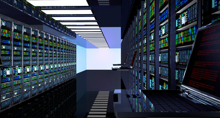 telecommunication equipment: Creative business web telecommunication, internet technology connection, cloud computing and networking connectivity concept: terminal monitor in server room with server racks in datacenter interior. 3d render Stock Photo