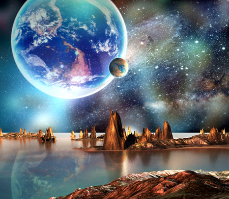sci: Alien Planet With Earth Moon And Mountains. Elements of this image furnished by NASA