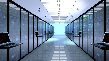 internet terminal: Creative business web telecommunication, internet technology connection, cloud computing and networking connectivity concept: terminal monitor in server room with server racks in datacenter. 3D render