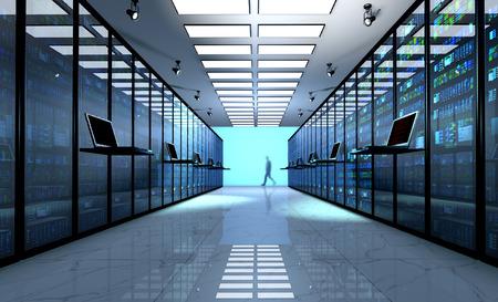 Creativa telecomunicaciones web de negocios, conexión de la tecnología de Internet, la computación en nube y el concepto de conectividad de red: Monitor de la terminal en la sala de servidores con bastidores de servidores en centros de datos. 3D rinden Foto de archivo - 63696354