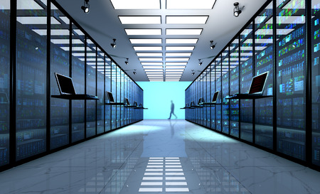 Creative business web telecommunication, internet technology connection, cloud computing and networking connectivity concept: terminal monitor in server room with server racks in datacenter. 3D render