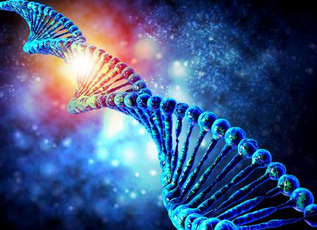 青の背景に dna 分子生化学の概念