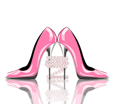 Elegant pink, high heel shoes with pearl jewelry. Shoes, symbol for wedding and engagement.  eps10. Çizim