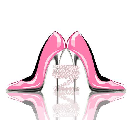 Elegante rosa, scarpe tacco alto con gioielli di perle. Scarpe, simbolo per il matrimonio e l'impegno. eps10. Archivio Fotografico - 67822601