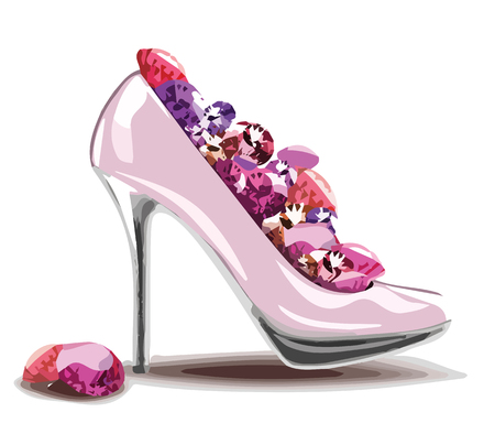 birthday invitation: Elegant pink, high heel shoe with diamonds, jewelry. Shoes, symbol for wedding and engagement. eps10.