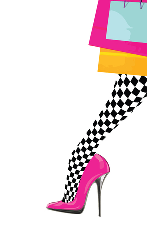 Woman leg with pink high heel shoe, chess stocking and shopping bags. eps10