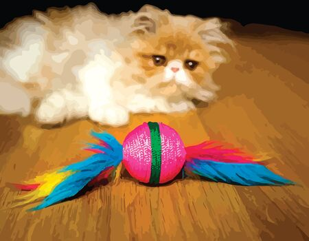 frisky: Cute white and orange persian breed kitten playing with a toy.  eps10.