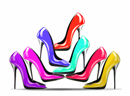 Pila de zapatos de tacón de colores en la tienda, aislado sobre fondo blanco, el concepto de compras y venta de moda. eps10