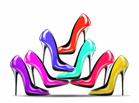 Stapel von bunten Schuhen mit hohen Absätzen im Geschäft, isoliert auf weißem Hintergrund, Konzept für Shopping und Mode verkaufen. eps10