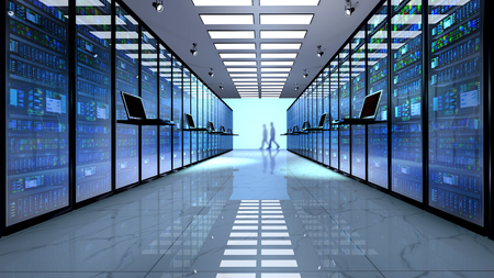Internet technology connection, datacenter, Networking connectivity concept: terminal monitor in server room Banque d'images