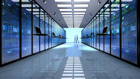 Internet-Technologie-Verbindung, Datacenter, Netzwerk-Konnektivität-Konzept: Terminal-Monitor im Serverraum Standard-Bild - 75665968