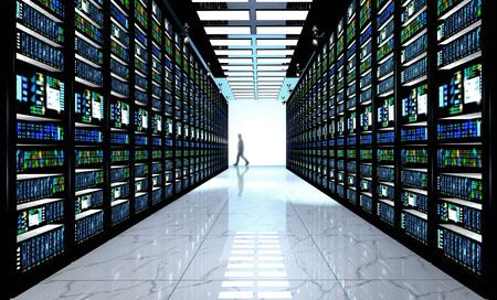 server technology: Internet technology connection, datacenter, Networking connectivity concept: terminal monitor in server room Stock Photo