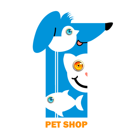 dog cat and bird and fish on white background. Animal design