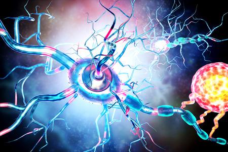 Damaged nerve cells, concept for neurodegenerative and neurological disease, tumors, brain surgery. Banque d'images