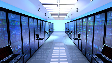 server technology: Creative business web telecommunication, internet technology connection, cloud computing and networking connectivity concept: terminal monitor in server room with server racks in datacenter interior