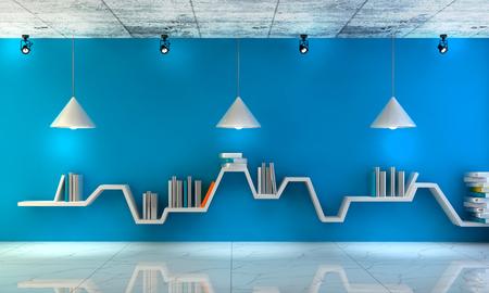 Moderner Innenraum mit schönen Möbeln. Minimalistisches Bücherregal über drastischem Beton- und Holzhintergrund, moderne Kunst. 3d rendern Standard-Bild