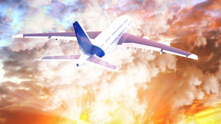 passenger aircraft: Passenger airplane in the clouds at sunset. travel by air transport. 3d render