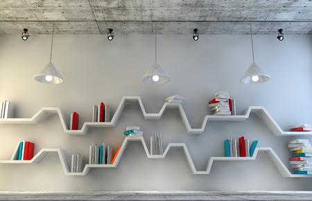 Modern interior room with a beautiful furniture. Minimalist bookshelf over dramatic concrete and wood background & Modern interior room with a beautiful furniture. Minimalist bookshelf..