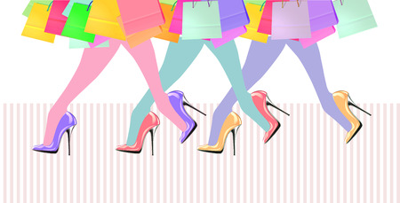 Woman legs with high heel shoes and shopping bags Stock Photo