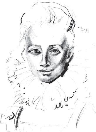 オリジナルの図面、イラスト、女性の肖像画、手描き。ベクトル