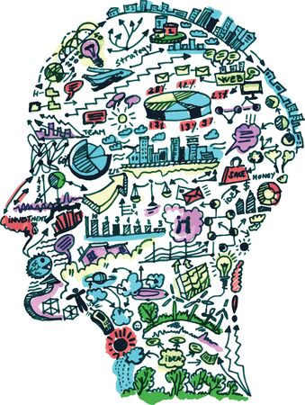 Business drawing in shape of man head. vector