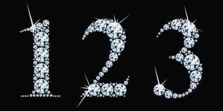 Diamond numbers set 1, 2, 3. Vector Eps10 Stock Illustratie