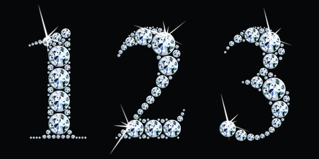 Diamond numbers set 1, 2, 3. Vector Eps10 Vectores