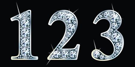 Diamond numbers set 1, 2, 3.