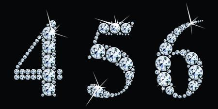 Diamantgetallen ingesteld 4,5,6. Vector Eps10