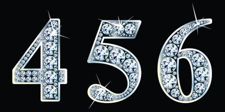 Diamantenzahlen gesetzt 4,5,6. Standard-Bild - 80165558