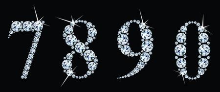 Diamond numbers set 7,8,9,0. Vector Eps10 Illustration