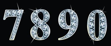 Diamond numbers set 7,8,9,0. Illustration