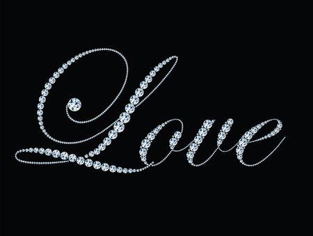 Stylized text Love made of diamonds. Concept for wedding, celebration, valentine's day. Vector eps 10 background Ilustração