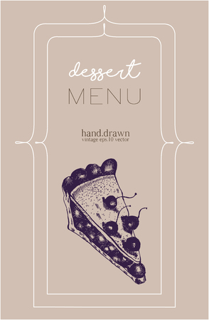 coffee and cake: Dessert menu with hand drawn sketch of cherry cake. Vintage vector illustration