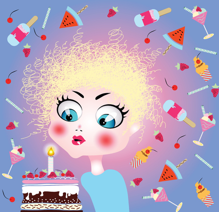 Little girl blowing birthday cake candle. Vector illustration
